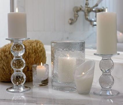 Velas para decorar baños