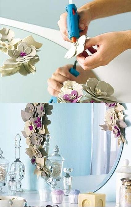 Espejo decorado para el baño