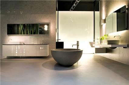 Baño minimalista estilo oriental