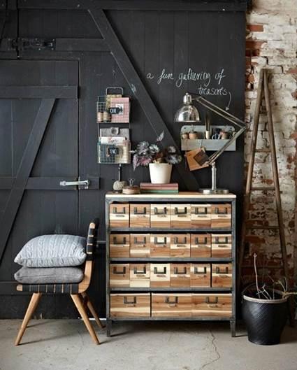 Oficina en casa con estilo industrial