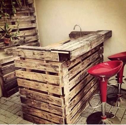 Palets de madera en la cocina