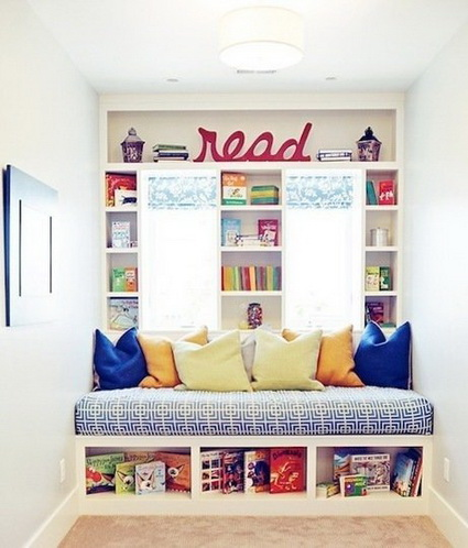 Rincón de lectura infantil iluminado