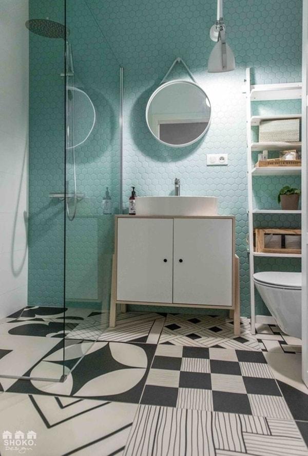 Azulejos de baño hexagonales