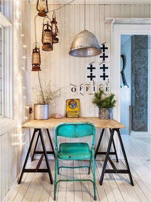 Oficina en casa con estilo vintage