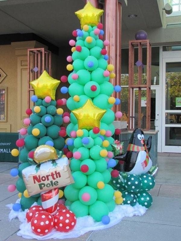 Decoración navideña con globos