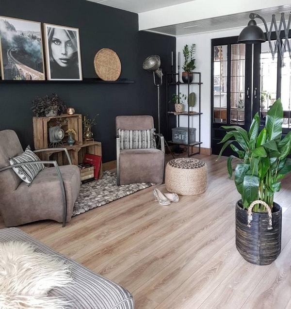 Una casa con estilo vintage industrial