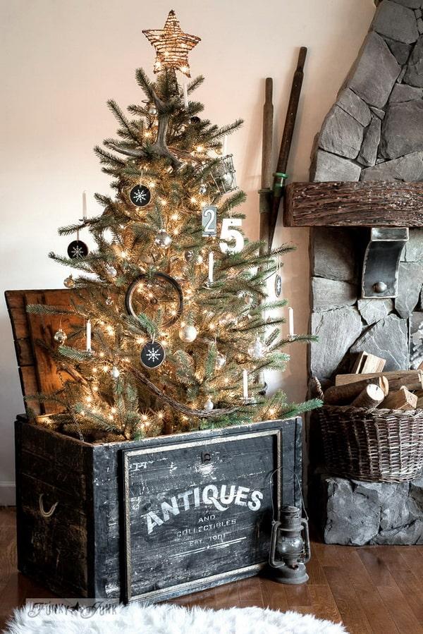 Árboles de Navidad en cajas de madera