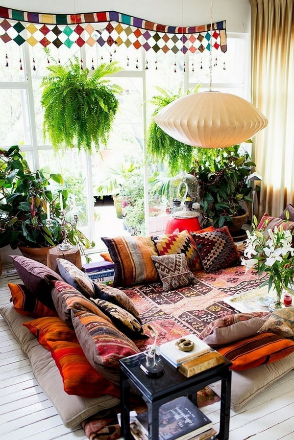 Cushions of many colors and plants