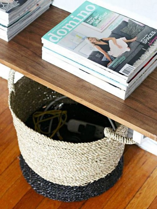 Wicker baskets to hide cables