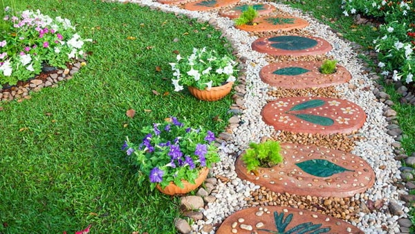 Garden paths with stones