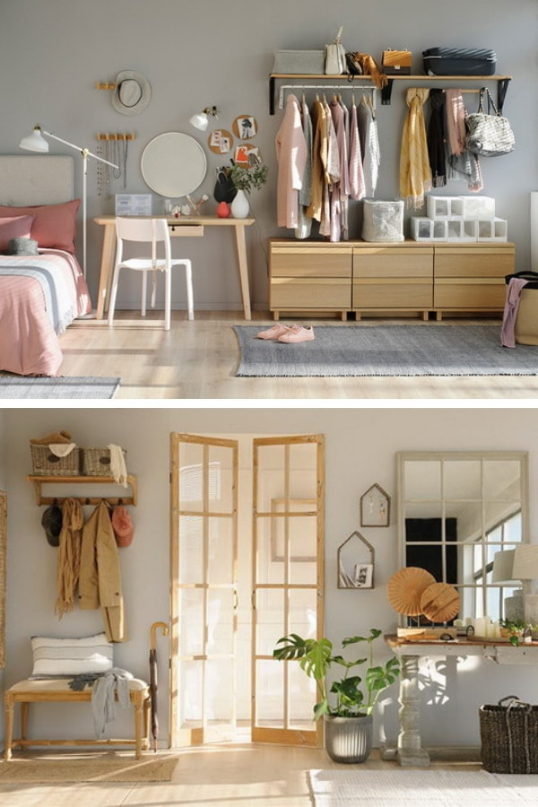 Wall racks in bedrooms and living rooms