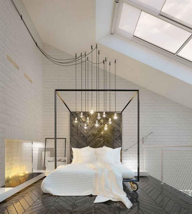 Dormitorio con bombillas colgando del techo