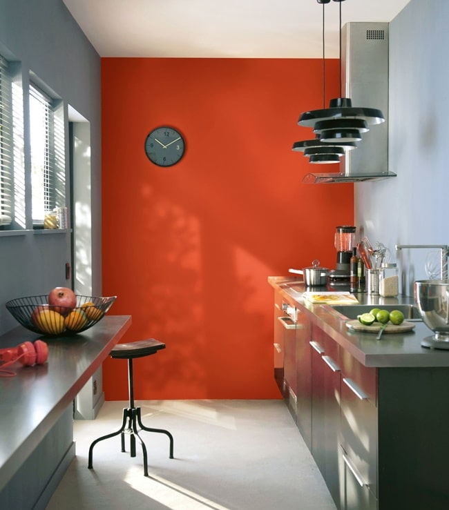 Pared en color naranja