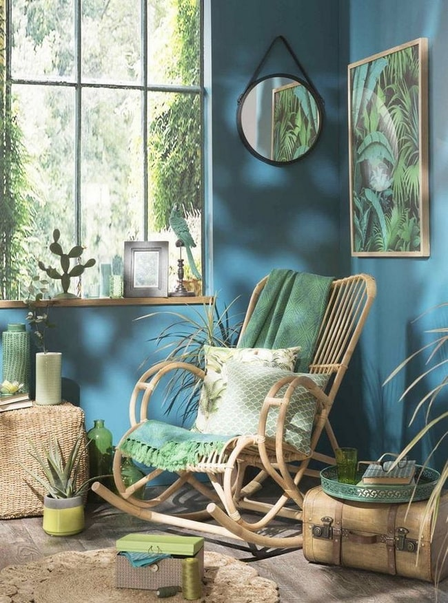 Color azul y verde en la decoración