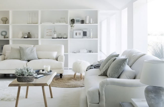 Decoración en blanco y azul